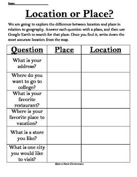Location or Place - Latitude and Longitude