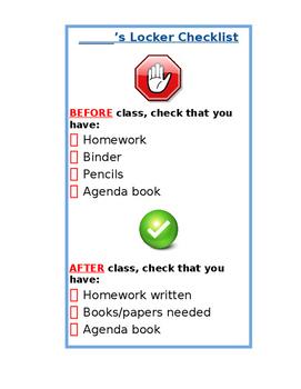Locker Checklist Organizational Tool
