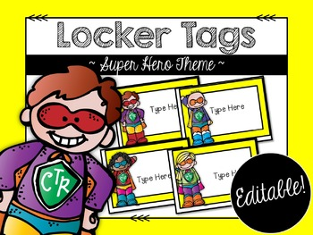 Back to School Locker Tags: Super Hero Theme