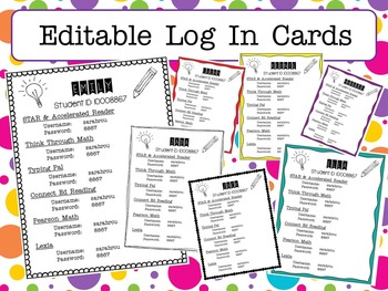 Log In Cards EDITABLE & MULTIPLE LOG INS