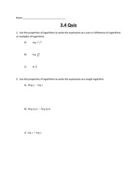 Logarithmic and Exponential Functions Lesson 3 Quiz