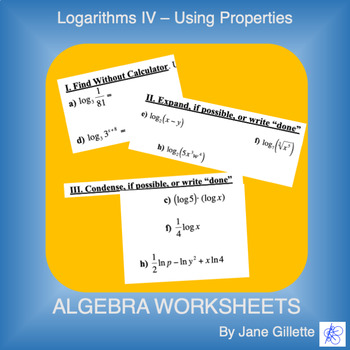 Logarithms IV - Using Properties