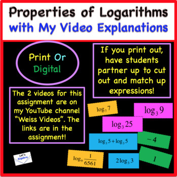 "Logarithms and Their Properties ""Explore, Cut, & Match"""