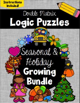 Logic Puzzles -  Double Matrix - Holiday and Seasons Growi