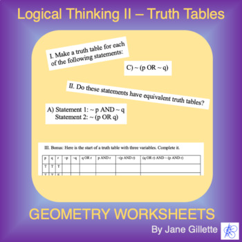 Logical Thinking II: Truth Tables