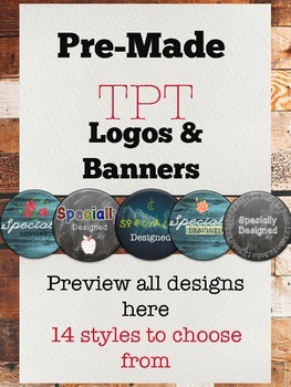 Logo Template Pre-Made TPT Logos -Customizable