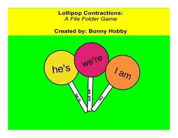 Lollipop Contractions - A File Folder Game