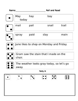 Long A (AY and AI) phonics partner reading game