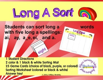 Long A Rainbow Sort with Spelling Patterns: ai, ay, a_e, e