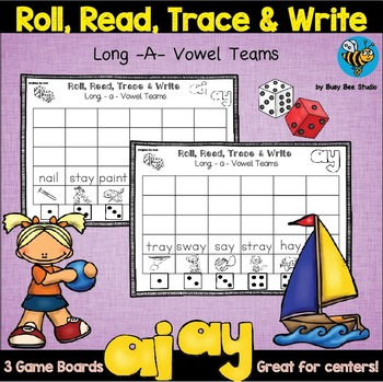 Long A Vowel Teams Game: Roll, Read and Trace
