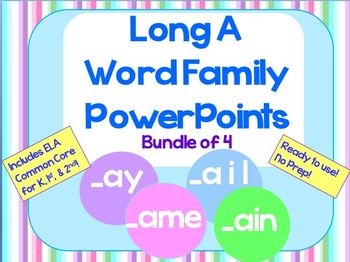 Long A Word Family PowerPoints Bundle for K, 1st or 2nd (C