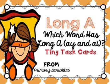 Long A (ay and ai words) Tiny Task Cards