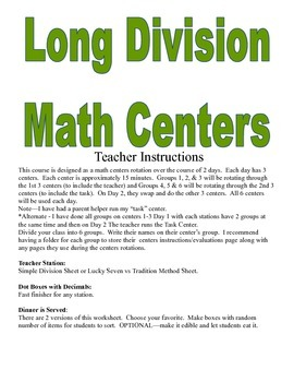 Long Division Math Centers and Activities