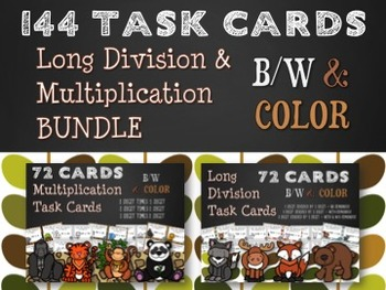 Long Division & Multiplication Task Card Bundle