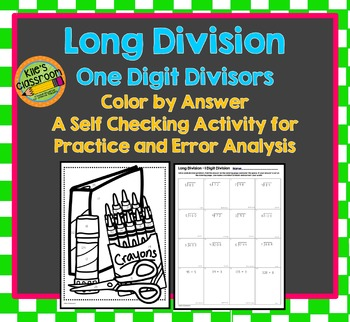 Long Division - One Digit Divisor- Color by Number - Color