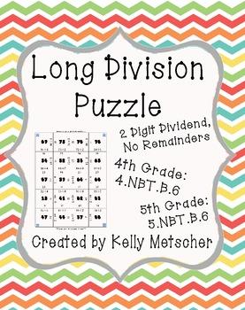 Long Division Puzzle, 2 Digit Dividend, No Remainders