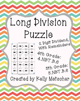 Long Division Puzzle, 2 Digit Dividend, With Remainders