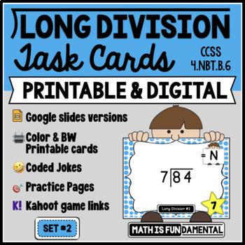 Long Division Task Card Set #2 - w/ unique answer code - 4