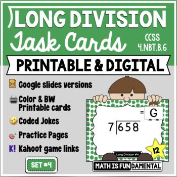 Long Division Task Card Set #4 - w/ unique answer code - 4