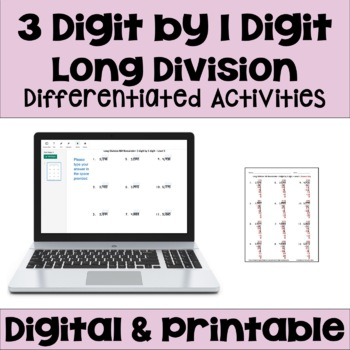 Long Division Worksheets: 3 Digit by 1 Digit (FREE)
