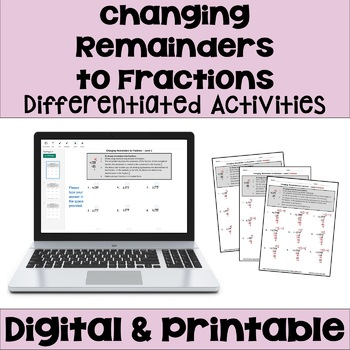 Long Division Worksheets: Changing Remainders to Fractions