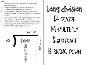 Long Division foldable