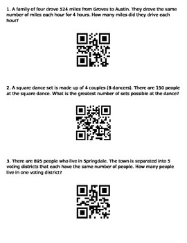 Long Division with QR codes