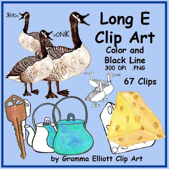 Clip Art - Long E Words - Color and Black Line - 67 images