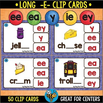 Long E Clip Cards (ee, ea, y)