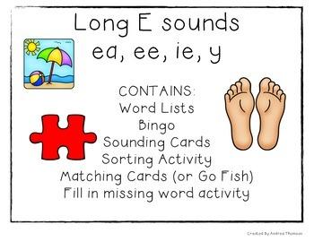Long E Vowel Sound Activities