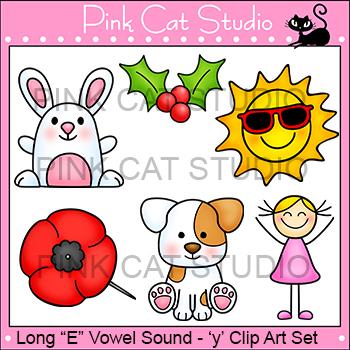 Long E Vowel Sound Spelled 'y' Clip Art - poppy, holly, pu