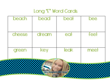 Long E Word Cards