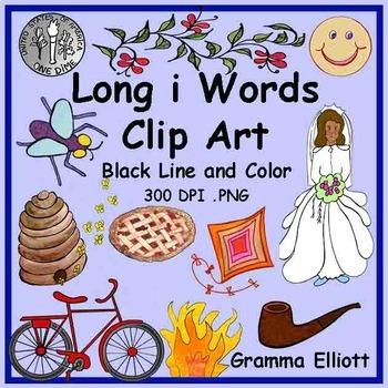Long I Clip Art - Color and Black Line - 68 clips- 300 Dpi