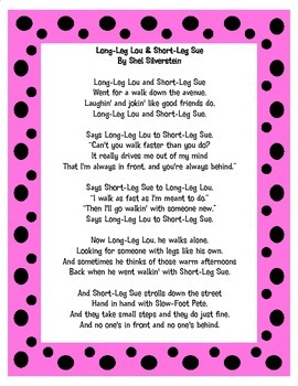 Long-Leg Lou & Short-Leg Sue By Shel Silverstein