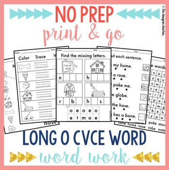 NO PREP Print & Go Long O CVCe Word Work