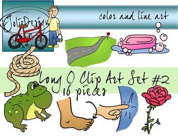 Long O Clip Art Set 2 - Color and Line Art 16 pc set