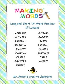 "Long & Short ""A"" Word Families - 17 Word Sort Lessons - Ma"