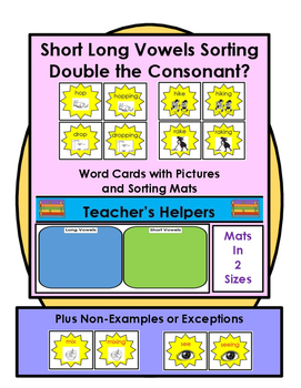 Long Short Vowels Picture Word Cards Sorting Mats with Non