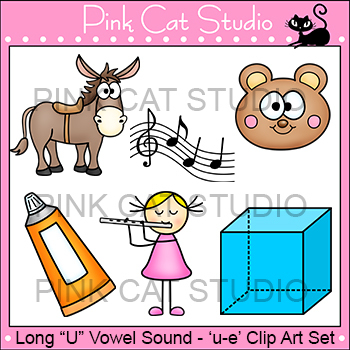 Long U Vowel Sound Spelled 'u-e' Phonics Clip Art Set - Co