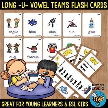 Long U Vowel Teams Flash Cards