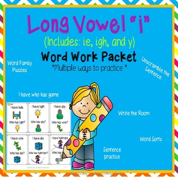 "Long Vowel ""I"" Word Work Packet (including: ie, i_e, y)"