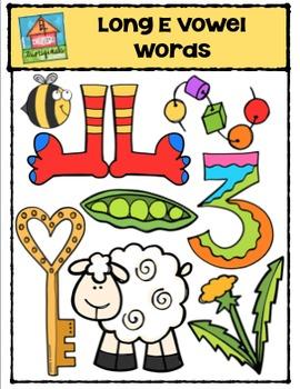 Long Vowel E Words {P4 Clips Trioriginals Digital Clip Art}