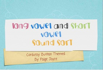 Long Vowel Short Vowel Sort