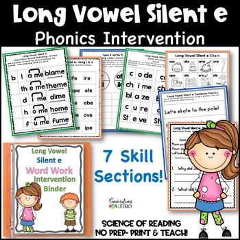 Long Vowel Silent e Intervention Binder