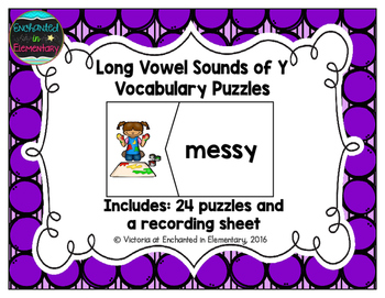 Long Vowel Sounds of Y Vocabulary Puzzles