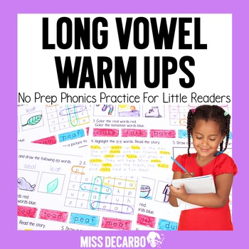 Long Vowel Warm Ups No Prep Phonics Practice for Little Readers