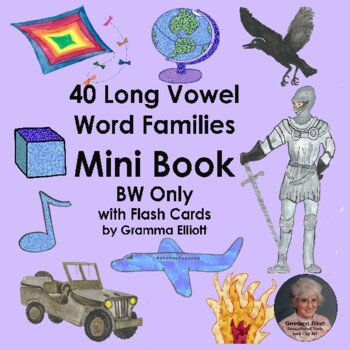 Long Vowel Rhyming Word Family Mini Book in BW Only