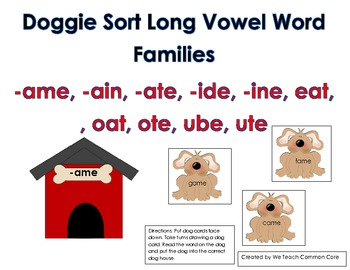 Long Vowel Word Sort with Doggies Literacy Center Daily Fi