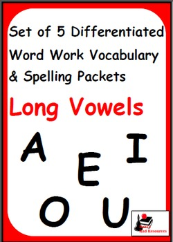 Long Vowels - Set of 5 Differentiated Word Work and Vocabu