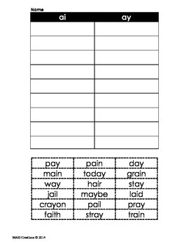 Long a - ai/ay word sort (Journeys First Grade Lesson 18)